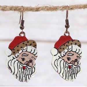 Santa Clause hand painted copper earrings NWT